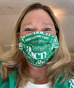 Anne sports her AAACN mask during the Fall 2020 AAACN virtual board meeting