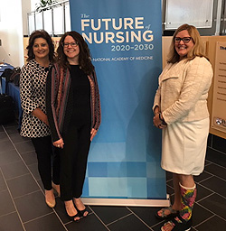 Anne attends the 2019 Future of Nursing Town Hall in Philadelphia with Immediate Past President Kris Grayem (far left) and CEO Linda Alexander.